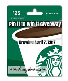 March Madness Pin it to Win it Giveaway! We love Moms at Mom Always Knows so whether you are a stay at home mom or working hard for your money mama or just someone who loves a Mom, then this giveaway is for you! Besides, who doesn't need a $25 gift card from Starbucks? I …