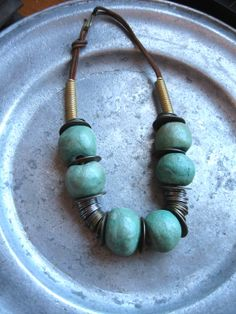 vintage greek bohemian necklace choker turquoise clay by lesaet, $43.00