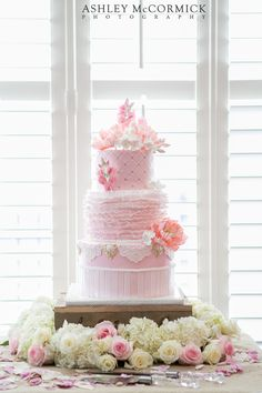 Now that's a pink wedding cake! Photo by Ashley McCormick Photography. Can I get married again just to have this cake! Wedding Cakes With Cupcakes, Wedding Cakes With Flowers, Cupcake Cakes, Cake Flowers, Cup Cakes, Gorgeous Cakes, Pretty Cakes, Amazing Wedding Cakes, Amazing Cakes