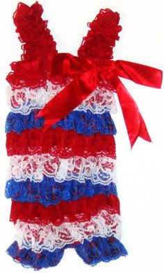 4th of July Patriotic Lace Romper by posiesnpinwheels on Etsy, $22.00