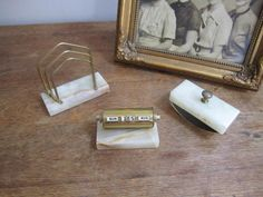 Perpetual Calender, Blotter, Mail Rack, Marble and Brass Office Desk Set by ontherebound on Etsy