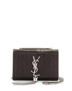 Monogram+Small+Kate+Tassel+Crocodile-Embossed+Shoulder+Bag,+Dark+Gray+by+Saint+Laurent+at+Neiman+Marcus.