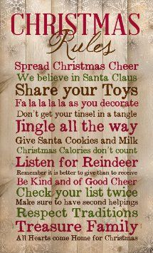 Christmas Rules Family Cheer Snowflakes 15 x 9 inch Wood Board Plank Wall Sign Plaque