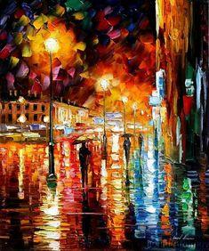 Afremov RAIN NIGHT CITY Origin by Leonidafremov.deviantart.com on @deviantART