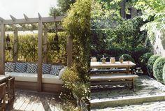 miranda brooks landscape design, porch, patio, backyard dining, backyard living, outdoor seating, pergola