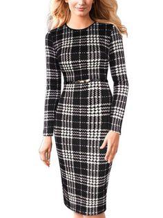 Plaid O-Neck Long Sleeve Slim Elegant Bodycon Dress Women Dresses on buytrends.com