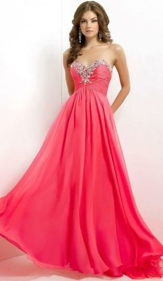 So pretty. Pink, beaded, heart neck line prom dress