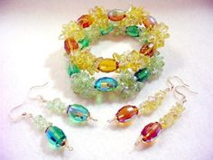 Crystal Bracelet, Crystal Jewelry Set, Amber Yellow and Sparkling Green Crystal Bead Bracelet Set, Beaded Jewelry, Dangle Earrings