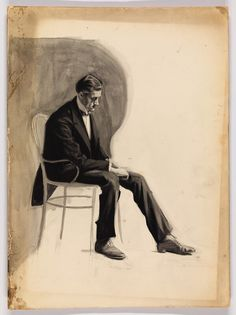 Edward Hopper, (Study of a Seated Man in Tuxedo), Brush and ink and graphite on board, sheet (Irregular): 14 × 10 × cm). Hopper/Licensed by Artists Rights Society (ARS), New York Figure Painting, Figure Drawing, Painting & Drawing, American Realism, American Art, Edward Hopper Paintings, Jack Vettriano, Whitney Museum, Sketches