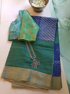 Green blue shibori tussar saree - Green and blue shibori tussar saree with printed border and blouse piece. Vintage Flower Girls, Fashion Displays, Hindu Bride, South Indian Weddings, South Asian Bride, Sari Dress, Ethnic Print, Indian Designer Wear, Shibori