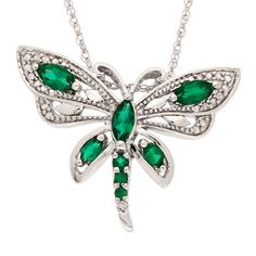 Emerald and Diamond Dragonfly Pendant Necklace