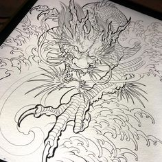 Dragon drawing done. Dragon Tattoo Colour, Dragon Tattoo Drawing, Dragon Sleeve Tattoos, Japanese Dragon Tattoos, Japanese Tattoo Art, Japanese Tattoo Designs, Dragon Tattoo Designs, Design Your Tattoo, Geometric Tattoo Design