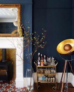 F&B Hague Blue living room Dark Blue Rooms, Blue And Gold Living Room, Navy Living Rooms, Dark Blue Walls, Dining Room Blue, Blue Living Room Decor, Living Room Colors, My Living Room, Living Room Designs