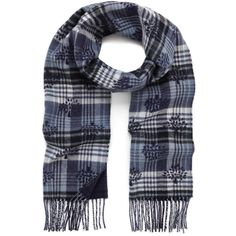 Jacquard Logo Scarf Midnight Blue Cashmere & Merino (410 CAD) ❤ liked on Polyvore featuring accessories, scarves, cashmere shawl, merino wool shawl, cashmere scarves, tie scarves and woven scarves
