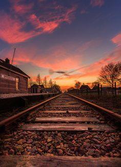 landscape   Railroad Sunset   by rensoprofijtfotografie   http://ift.tt/1OPIZDr