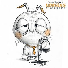 Chris Ryniak - morning scribbles - cute and funny art  Nobody's looking.. #morningscribbles
