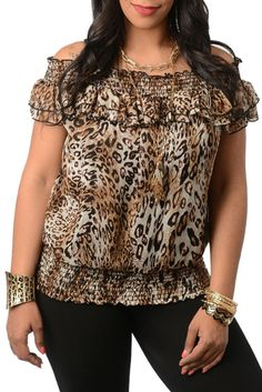 Brown Leopard Plus Size Off Shoulder Peasant Top.  Buy now at http://shrsl.com/?~4xxl  On sale at $17.59