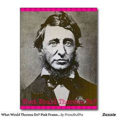 2 sold ~ Thanks, buyer! What Would Thoreau Do? Pink Frame Postcard #zazzle #giftshop #philosophy #writers