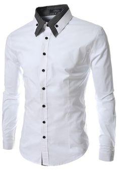 Camisa de Vestir Elegante Fashion - Cuello a Rayas Sobrepuesto - Blanca y Negra