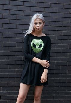 Alien Selfie Glitter Slouch Dress