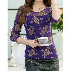 Rose Print See-Through Design Long Sleeve Scoop Neck T-Shirt For Women