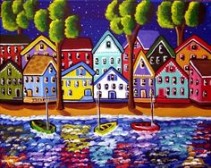 Colorful Shoreline Houses Boats Whimsical by reniebritenbucher, $149.00