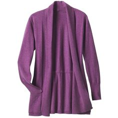 Samantha Brown Ultrasoft Cardigan ($89) ❤ liked on Polyvore featuring tops, cardigans, imperial purple, plus size womens cardigans, women plus size tops, brown cardigan, layering cardigans and purple cardigan