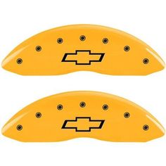 MGP Set of 4 Caliper Covers with Engraved Front and Rear (Bowtie), Yellow Powder-Coat Finish and Black Characters