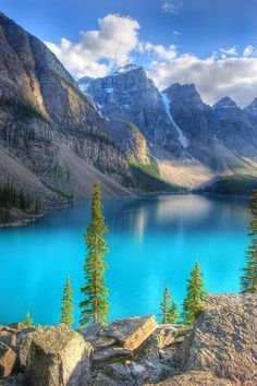 Moraine Lake in Alberta, Canada. Moraine Lake is a glacially-fed lake in Banff National Park, miles outside the Village of Lake Louise. It is in the Valley of the Ten Peaks, at an elevation of approximately feet. All Nature, Amazing Nature, Dream Vacations, Vacation Spots, Lago Moraine, Parc National De Banff, Banff National Parks, Places To Travel, Places To See