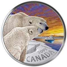 Pure Silver Coloured Coin - The Polar Bear: Canadian Fauna - Mintage: Canadian Coins, Canadian History, Canadian Horse, Arctic Landscape, Gold And Silver Coins, Effigy, Rare Coins, Fauna, Coin Collecting