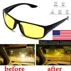27d4bd78c80 Night Vision Driving Glasses Anti Glare UV Protection Safety Sunglasses  Goggles  Suleve  Pilot