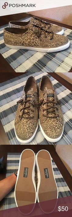 Leopard Sperry Top-Sider These are extremely Cute. Never worn they are brand new. No Box nice pair of sneakers for the summer with shorts. Size 11 women. Sperry Top-Sider Shoes Sneakers