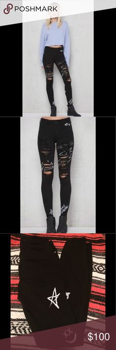 PacSun Jeans PacSun High Rise Skinniest Black handwriting Jeans. No tags but have never been worn!!I bought them for my daughter and she pulled tags off before trying them on,they didn't fit her and they had no others in stock to exchange for so I just kept em.These jeans are the coolest,I LOVE them and wish I could fit into them! PacSun Jeans Skinny