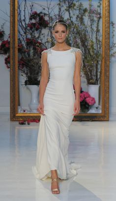White gown with beaded cap sleeves | Anne Barge Spring 2017 | https://www.theknot.com/content/anne-barge-wedding-dresses-bridal-fashion-week-spring-2017