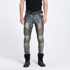 28.35$  Buy here - http://aix85.worlditems.win/all/product.php?id=32719425348 - Runway Distressed slim elastic jeans blue destroyed mens slim denim straight biker skinny jeans men ripped jeans