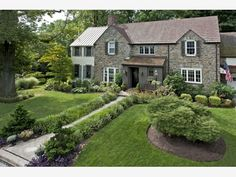 Whole yard with bushes, trees, flower beds and shrubs. - Home and Garden Design Ideas