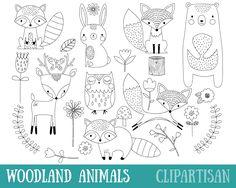 Woodland Animals Digital Stamp Line Art EPS Vector