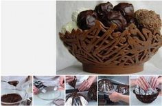DIY Chocolate Nest Bowl by diyforever Chocolate Nests, Chocolate Basket, Chocolate Art, Chocolate Lovers, Chocolate Designs, Edible Centerpieces, Edible Arrangements, Maria Chocolate, Bowl Designs