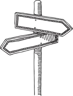 Signpost Choice Two Directions Drawing