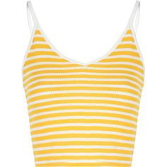 Yellow And White Stripe V Neck Crop Top ($14) ❤ liked on Polyvore featuring tops, crop tops, shirts, tank tops, crop, yellow, stripe shirt, leather crop top, yellow stripe shirt and striped shirt