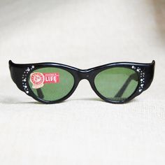 6686a945cba9 1950s Sunglasses Vintage Cat Eye Black Rhinestone NOS