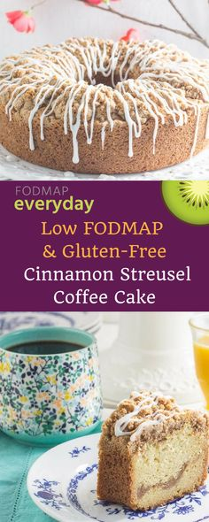 Our Cinnamon Streusel Coffee Cake is low FODMAP and gluten-free. It feeds a crowd and is special enough for a party. Brunch anyone? #lowfodmap #fodmapeveryday #ibs #ibsdiet #glutenfree #glutenfreedessert #lowfodmapdessert
