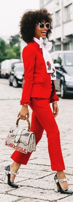 How To Rock A Red Suit For Women   Of Leather and Lace