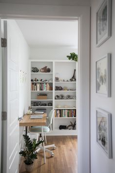 The couple works from home and shares this beautiful sun-lit office space.