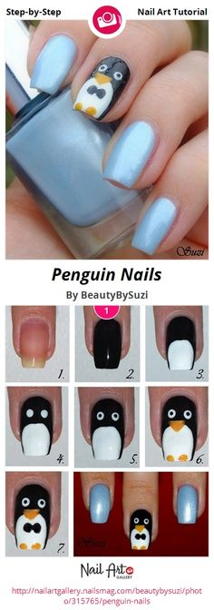 Penguin Nails By Beautybysuzi Nail Art Gallery Step Tutorials Nailartgallery