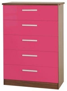 Knightsbridge Pink Chest of Drawer - 5 Drawer