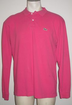 Men's Lacoste Pink Long Sleeve Polo Shirt - Size 8 - XL - 100% Cotton #Lacoste #PoloRugby