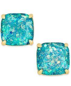 kate spade new york 14k Gold-Plated Small Square Glitter Studs | macys.com