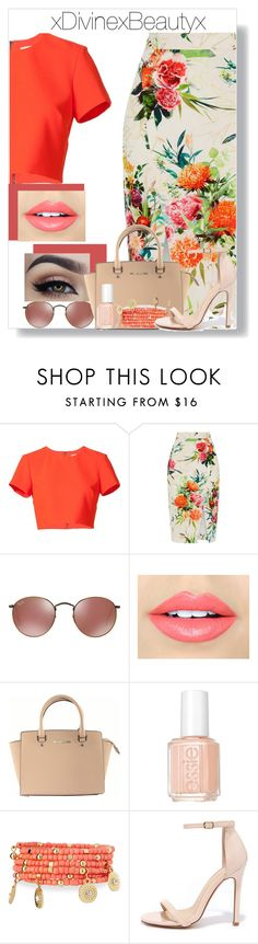 """""""Untitled No.201"""" by xdivinexbeautyx ❤ liked on Polyvore featuring Nicole Miller, Oasis, Fiebiger, Michael Kors, Essie, Emily & Ashley and Liliana"""