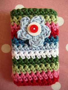 JuliaCrossland: Garden Flower Crocheted Mobile Phone Pocket